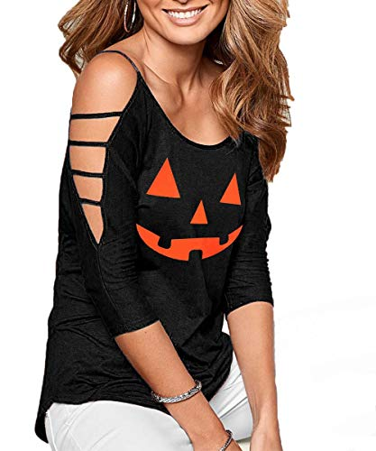 (DREAGAL Women's Halloween Tops Summer Lightweight Cold Shoulder Blouse Shirt)