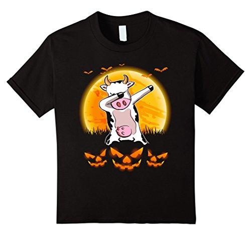 Cute Cow Costumes (Kids Cute Cow Dabbing Halloween Costume Gift Shirts 12 Black)