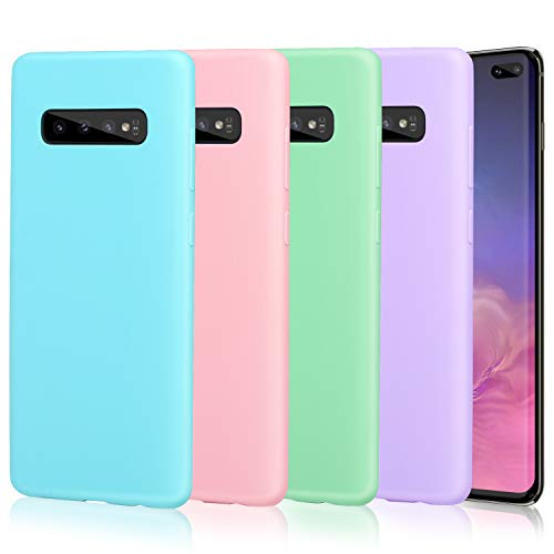 (Pofesun Silicone Case Cover for Galaxy S10 Plus, 4 Pack Soft Flexible TPU Case Rubber Silicone Skin Compatible for Samsung Galaxy S10+ Plus Case 6.4 inch-Blue,Pink,Purple,Mint Green)