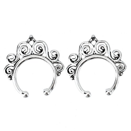 Refaxi 2pcs Fake Septum Non-Piercing Nose Ring Hanger Swirl Clip On Jewelry Silver Tone by ReFaXi