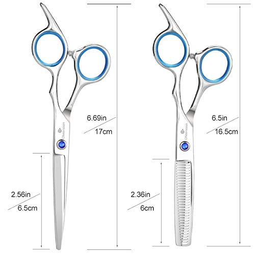 Cheersoon Hair Cutting Scissors Shears Set Sharp Haircut Scissors Professional Thinning Shears Grooming Kit Stainless Steel Hair Cutting Shears for Women Men Adults Kids Children Barber Salon (Blue)