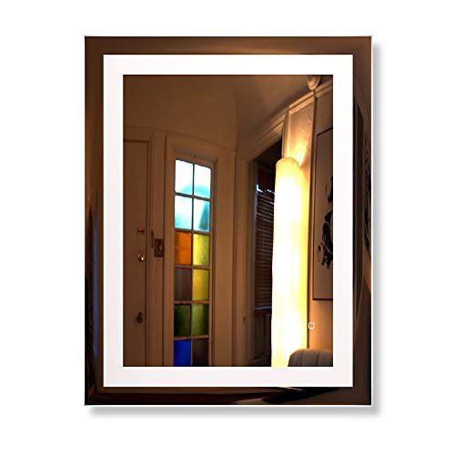 HAUSCHEN 36 x 28 inch LED Lighted Bathroom Wall Mounted Mirror with 5500K High Lumen + CRI>90 Cold White Lights and Anti Fog and Dimmable Memory Touch Button + IP44 Waterproof + Vertical & Horizontal by HAUSCHEN HOME (Image #3)