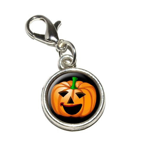 Jack-o-lantern - Pumpkin - Halloween Antiqued Bracelet Pendant Zipper Pull Charm with Lobster Clasp ()