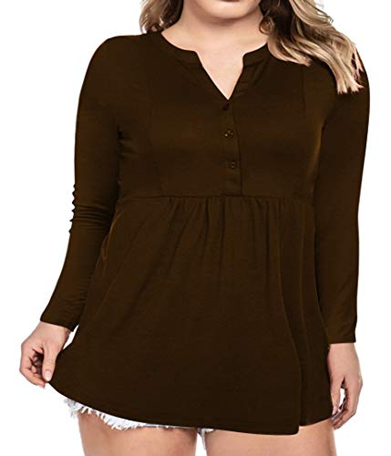Women's Plus Size Button Down Shirts Notch Henley V Neck Long Sleeve Pleated Flowy Blouses Casual Tunic Tops (Brown, 5X-Large)