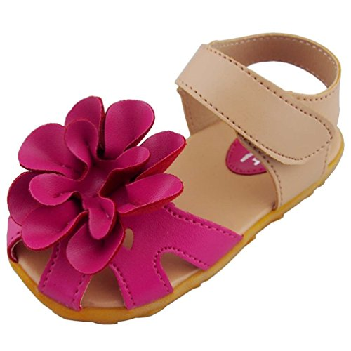 DADAWEN Girl's Flower Closed Toe Princess Sandal (Toddler/Little Kid) Rose Red US Size 10 M Toddler