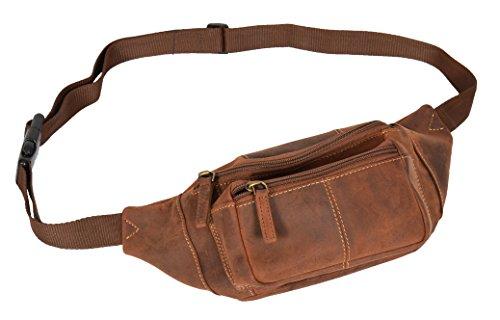Echtes Leder Taille Bum Bag Slim Reise Geld Tasche Pack Barcelona Öl Hellbraun