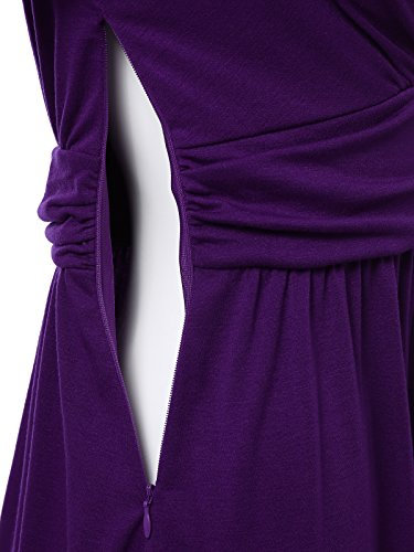 Knit Sleeve Caged purple Wrap JayJay Sweater with Women Neck Bow Long Jwdm484qs Belt Dress Faux Casual XwYpqa