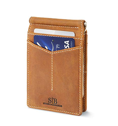 - Travel Wallet RFID Blocking Bifold Slim Genuine Leather Thin Minimalist Front Pocket Wallets for Men Money Clip - Made From Full Grain Leather (California Desert Rogue)