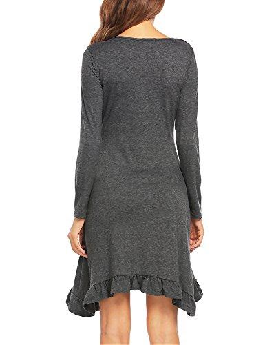 Grey Short Neck Print Sleeve Line Dress D Beyove A Cocktail Women's Casual Gold V Foil wCt6qI