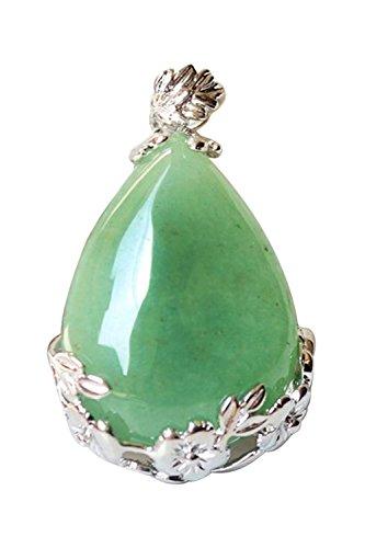 SODIAL Women Angel Tears Water Drop Semi-Precious Gemstones Pendant -Green Aventurine