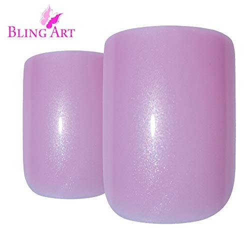 (False Nails Bling Art French Fake Pink Natural Squoval 24 Acrylic Medium Tips)
