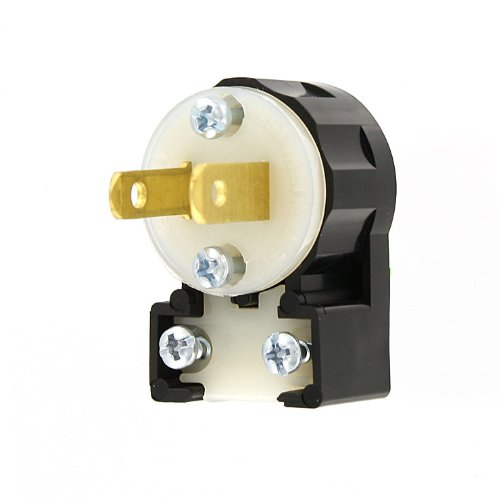 Leviton MS2-AP 15 Amp, 125 Volt, Non-Grounding, Straight Blade, Plug, Industrial Grade, Midget Angle, Black-White