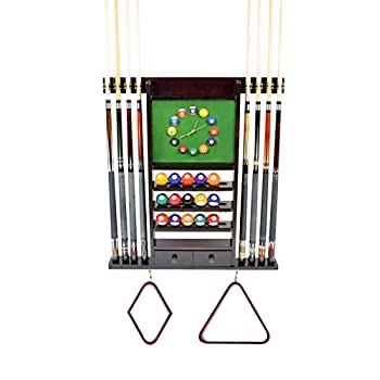 Image of Cue Rack Only - 8 Pool - Billiard Stick & Ball Wall Rack W Clock Chose Mahogany, Black or Dark Oak Finish