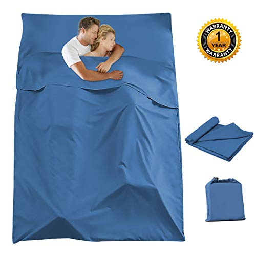 Azarxis Sleeping Bag Liner Travel Sheet Sack Cotton Lightweight Portable Single Double 2 Two Person Envelope for Hotel Adult Camping Hiking