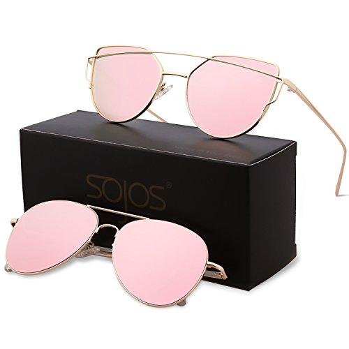 SojoS Cat Eye Mirrored Flat Lenses Street Fashion Metal Frame Women Sunglasses - Sunglasses Women