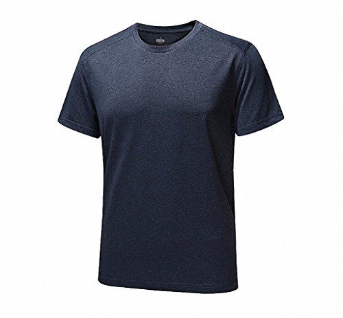 Maoko Men's Crew Quick Drying Short Sleeve Running T-Shirt Black Gray