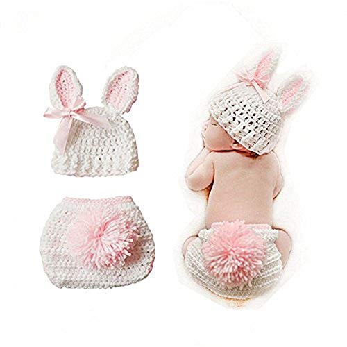 Swovo Baby Outfits Cute Crochet Knit Baby Jumpsuit Photography Props for 0-6 Month Toddler Newborn Pink (Girls Crochet Outfits)