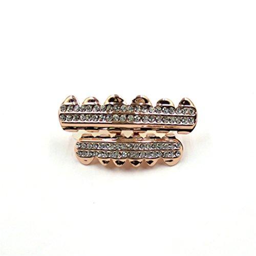 Captain Crafts Gold Plated Diamond Hip Hop Teeth Grillz Caps Top Bottom Teeth set(rose gold) - Cheap Gold Teeth Caps