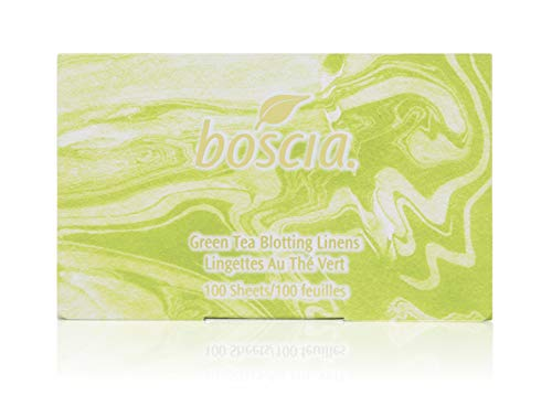 boscia Green Tea Blotting Linens - Natural Green Tea and Abaca Tree Fiber Oil Blotting Sheets for Face, 100 Sheets