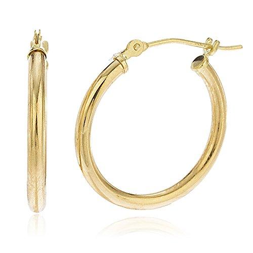 14K Gold 2mm Basic Pincatch Hoop Earrings (18 Millimeters) ()