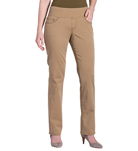 Jag Jeans Women's Petite Peri Straight Pull on Jean, Toffee Twill, - Apparel Toffee Brown