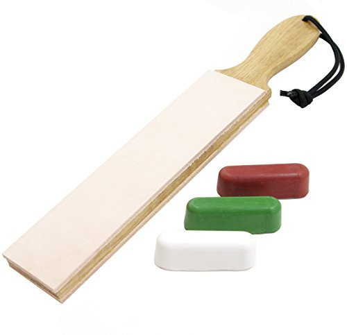 Leather Paddle Strop Double Sided 1.5 Inch Wide and 3 Compounds ()