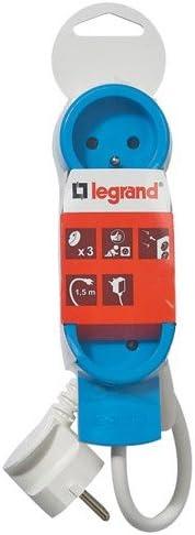 Legrand LEG50032 Rallonge multiprise standard 3 prises 2 p/ôles avec terre et cordon de 1,5 m Vert