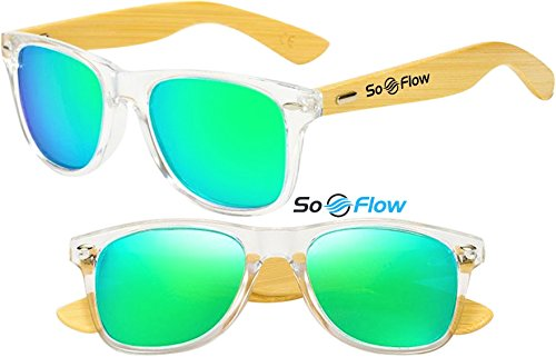 Neon Lens - SoFlow Neon Green Polarized Wood Sunglasses Men Women Mirrored Lightweight Wooden Bamboo Wayfarer UV-400 Clear Front Frame Medium/Large Green Lens Sunglasses Prime Cool Beach Pool Driving Shades