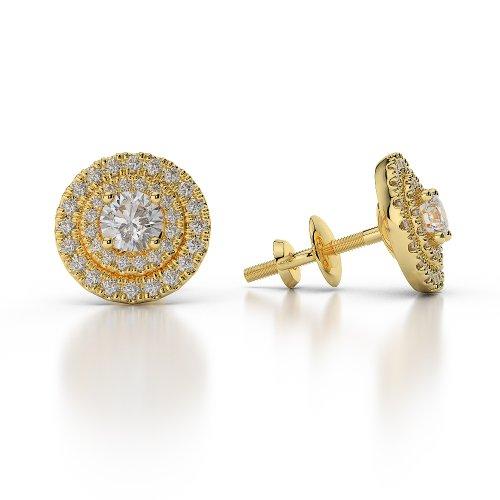 Or jaune 18carats 0,46CT G-H/VS sertie de diamants taille ronde Halo Boucles d'oreilles Agder-1013