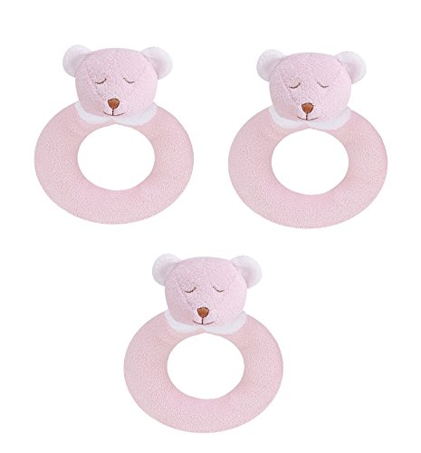 (Angel Dear 3 PCS Ring Rattles Set, Pink Bear)