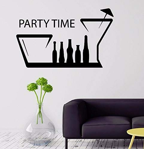 Dalxsh Party Time Vinyl Wall Decals Bar Kitchen Decor Removable Alcohol Drink Wall Sticker Party Decoration Vinyl Wall Art Mural 57x35cm ()