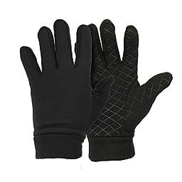 Men\'s Moisture Wicking Micro-fleece Running Sport Gloves - Color: Black Size: Large