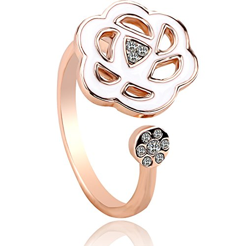 Flower Blossom Brass Plated Rose Gold Open Tail Statement Ring with Cubic Zirconia