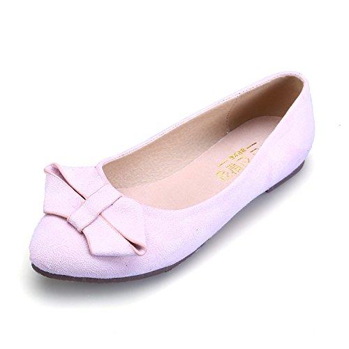 Smilun Damen Ballerina Flach Ballett Klassische Schleife Pink