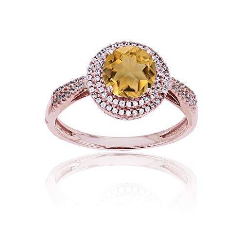 - Sterling Silver Rose 0.15 CTTW Round Diamond & 7mm Round Citrine Double Halo Ring
