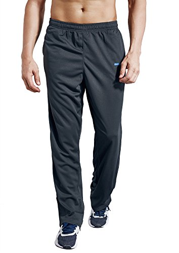 Zengvee Men's Sweatpant with Pockets Open Bottom Athletic Pants for Jogging, Workout, Gym, Running, Training(0317-Solid Gray,S)