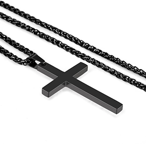 [Reve Jewelry Stainless Steel Black Cross Pendant Necklace for Men Women, 24'' Black Link Chain] (Titanium Cross)