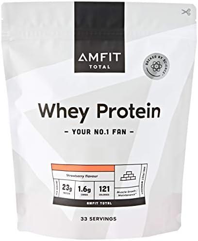 Marca Amazon - Amfit Nutrition Proteína de Suero de Leche en Polvo 1kg - Fresa (anteriormente PBN)