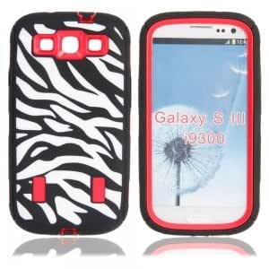 Hard Protection Case with Zebra Pattern for Samsung i9300 Red