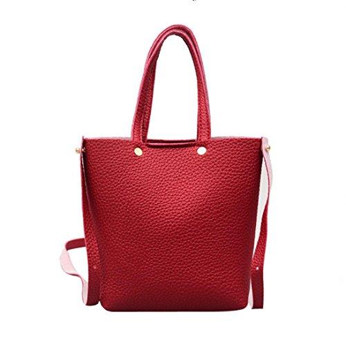SANFASHION Bandoulière Simple Retro Femme Élégant Sac Imperméable Synthétiqu Main a Cuir Sac Rouge Bag Grand Sac à rqxTSPwr