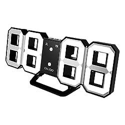 DIGOO DC-K3 3D LED Digital Wall Alarm Clock Multi-Function Digital Alarm Clock With Snooze Function 12/24 Hour Display, Three adjustable Brightness White