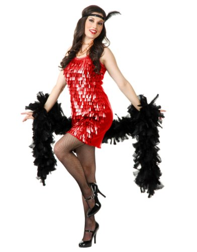 Women's Large 11-13 Red Roaring 20s Tear Drop Sequin Flapper Costume Dress (Deluxe Flapper Girl Costume)