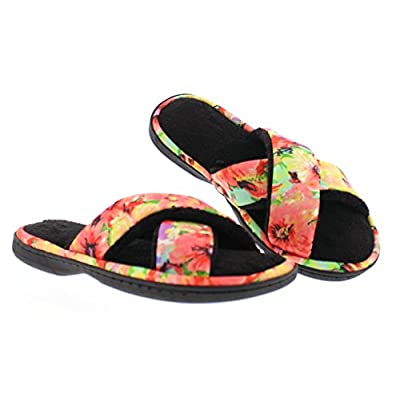Gold Toe Women's Ramira Floral X-Band Crisscross Strap Open Toe Slide Sandal Memory Foam House Slipper