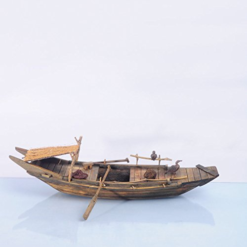 Chinese Fishing Boat (Wooden Wupeng Boat Model, 36cm, Chinese Style Traditional Handmade Fishing Ship Fully Assembled Pre-Built Model Ship Wooden Gift (Not a Kit) (E9 gruy))