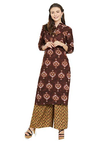 Delisa New Multi Designer Women Straight Multi Design Printed Kurti for Women Tunic Top 3/4 Sleeve Dress Plzzo (Multi-221, 3XL-46)