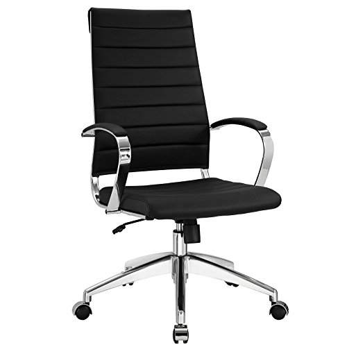 Modway Jive Ribbed High Back Executive Office Chair, Black Vinyl
