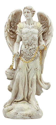 (Ebros Ivory Colored Holy Archangel Saint Sealtiel Carrying Golden Censer Statue 5