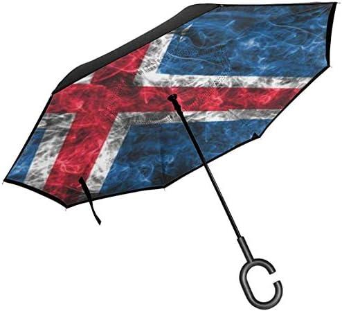 アイスランド ユニセックス二重層防水ストレート傘車逆折りたたみ傘C形ハンドル付き