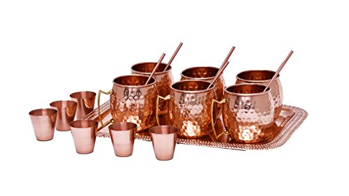 Moscow Mule Copper Mug Gift Set - Premium Quality Mugs Hammered Design with Tray Shot Glasses 16 oz. ounce Cocktail Cups Straws Available Solid Handcrafted Handmade Finish Perfect for Gifts Cocktails