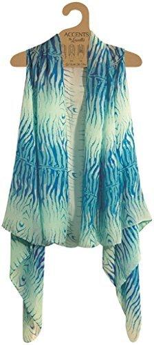 (Accents by Lavello Sheer Designer Vest, Aqua/Turquoise Zebra Print)